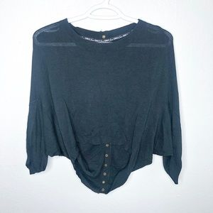 ONLY Black Crop with Gold Buttons Up Back